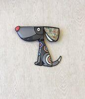 Adorable artistic large dog Pin Brooch enamel on Metal
