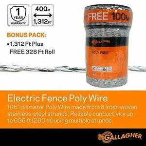 Gallagher Electric Fence Poly Wire, Bonus Pack - 1312 Ft Plus Free 328 Ft Roll