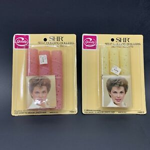 2 PKS VTG Goody Self Holding Rollers SHR Pink Yellow Hair Curlers Large Med NOS