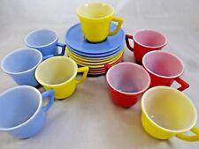 18 pc Hazel Atlas Little Hostess Milk Glass Demitasse Cup & Saucer Child Tea Set