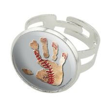 Hand Print Baseball Get a Grip Silver Plated Adjustable Novelty Ring