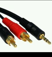 Extra long/ 3m 3.5mm Jack to 2 RCA Twin Phono Plugs Audio Cable Stereo Lead GOLD