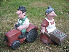 MR & MRS FARMER COUPLE GARDEN ORNAMENTS - HEAVY STONE