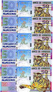 LOT, Kamberra, POLYMER, 5 x 50 Numismas, China Lunar Year 2010, UNC > TIGER