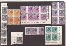 1968/9 TURRITA FLUORESCENTE GOMMA ARABICA 4 BLOCCHI E 2 STRISCE NUOVE MNH**