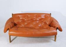 Mediados de siglo moderna Percival Lafer estilo sofá de cuero con pelo insertado, 1970s