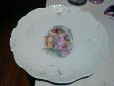 German large charger platter 3 pixie fairies frolicking.
