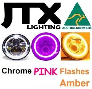 "1pr JTX 7"" LED CHROME Headlights PINK Flash Amber suits Nissan Patrol MQ GQ Y60"