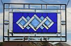 Cobalt  Beveled Stained Glass Window Panel Transom  25 5 8x1 15 5 8
