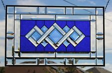 •Cobalt •Beveled Stained Glass Window Panel-Transom- 25 5/8x1 15 5/8
