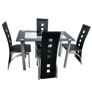 Dining Table Set Fashion Tempered Glass With 4pcs Chairs 110cm Home Furniture