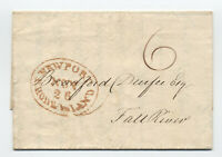 1826 Newport RI large red oval handstamp stampless [5246.579]