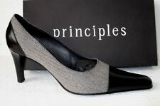 NEW Principles Black Leather & Herringbone Tweed 1960s Style Courts UK Size 6