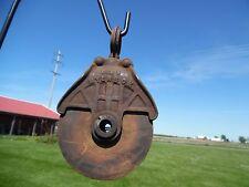 Vintage MYERS OK Barn Pulley Farm Loft Tool Primitive Antique Tool Hay Trolley 2