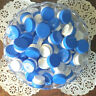 50 Cute White Plastic 1/4oz Sample JARS 1TSP Skin Care Blue Lids Caps 3301 NEW