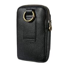 Luxury Leather Single Zipper Pouch Waist Belt Case Holder For iPhone 5 6 7 Plus