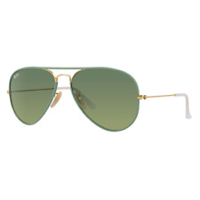 Ray-Ban Aviator Full Color Sunglasses RB3025JM 001/3M 2N SED 58 135 A Green Gold