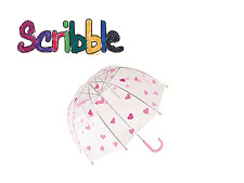 Scribble Kids 18inch Dome Umbrella Heart Kids School Girls Children