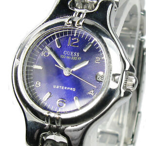 GUESS women's watch Model G65171L Stainless St Dark violet dial Date (SEE VIDEO)