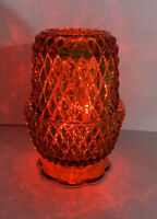 Amber Glass Diamond Point Votive Candle Holder Fairy Lamp Indiana Glass Company