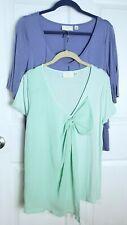 2 Erin Fetherston Womens M Medium Shirt Top Lot Rayon Blend Blue Mint Green