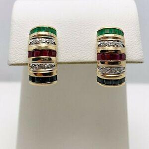 Genuine Ruby Sapphire Emerald Diamond 14k Gold Earrings (8653)