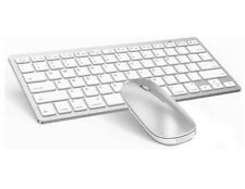 OMOTON Ultra-Slim Wireless Keyboard Mouse Combo~iPad Model #KB066~Silver White