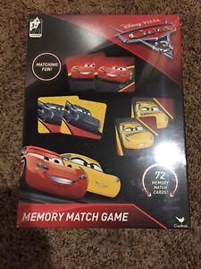 Memory Match Game DISNEY PIXAR CARS 3 - 72 Card Tiles Educational Learning A26