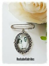 Buttonhole / brides garter, picture memory charm wedding groom pin( picture inc)