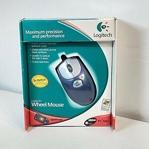 Vintage Logitech Premium Optical Wheel Mouse M-BJ58 Metallic Blue NEW NOS