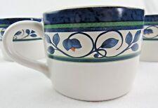 4 Ptaltzgraff Tea or Coffee Cups Blue Green Organic Floral Design