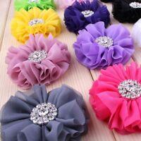 120p Fluffy Chiffon Fabric Flower With Rhinestone Snow Button For Baby Headband