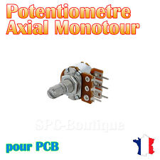 1x Potentiomètre stéréo logarithmique Axial 100KΩ (A100K), pour PCB