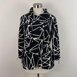 Zenergy by Chicos Womens 1 Medium Coat Jacket Zip Black White 3/4 Sleeve A43