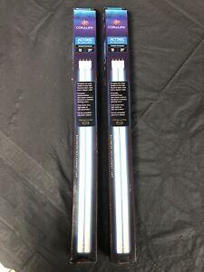 "Two CORALIFE Aquarium Power Compact PC 65W Bulb Straight Pin 21"" Actinic"