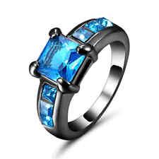 Princess Cut Blue Aquamarine Wedding Ring 10K Black Gold Filled Birthstone Size9