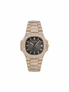Business Man Round 20 Ct Diamond Patek Philippe Automatic Date Wrist Gift Watch