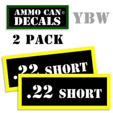 22 SHORT Ammo Label Decals Box Stickers decals - 2 Pack BLYW