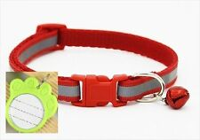 Reflective pet collar - Red - plus FREE ID tag - small - dog, puppy, cat, kitten