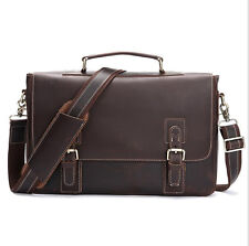 "Mens Vintage Leather Briefcase 14"" Laptop Bags Handbag Attache Satchel Shoulder"
