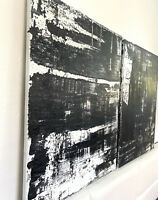 Black And White Acrylic Painting Abstract Canvas Wall Art Home Decor Set 2 Arts