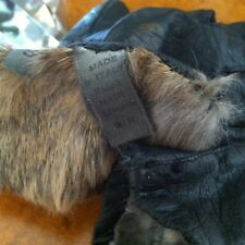 Vtg Fur Llined Black Leather Gloves Made in Italy s