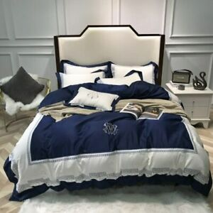 Bedding Sets Blue Egyptian Cotton Soft Duvet Cover Embroidery Bed Set Pillowcase
