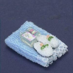 DOLLHOUSE Towel Set w Lotion & Slippers Blue a2328 Falcon Miniature