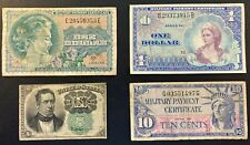 4-Military Payment Certificates, Series 692, 661, 591 & 1874 - Dollar - 10 Cents