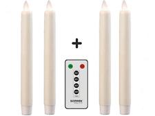 4er Set SOMPEX Flame LED - Echtwachs Stabkerzen 2,5x23 elfenbein & FB 38130