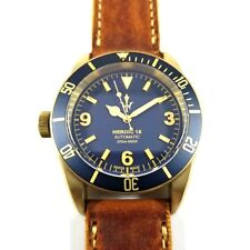 RARE LIMITED EDITION HER0IC18 SWISS MADE LEFT CROWN BLUE DIAL BRONZE DIVER WATCH