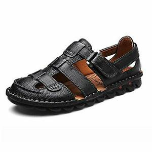 Mens Closed Toe Leather Sandal Outdoor Fisherman Adjustable Beach Shoes 11