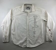 ED HARDY by CHRISTIAN AUDIGIER Mens L White Button Up Shirt Rhinestones '1971'