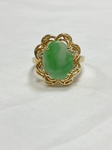 Estate Natural White-Green Jade & Diamonds Halo Cocktail Ring 18k Yellow Gold